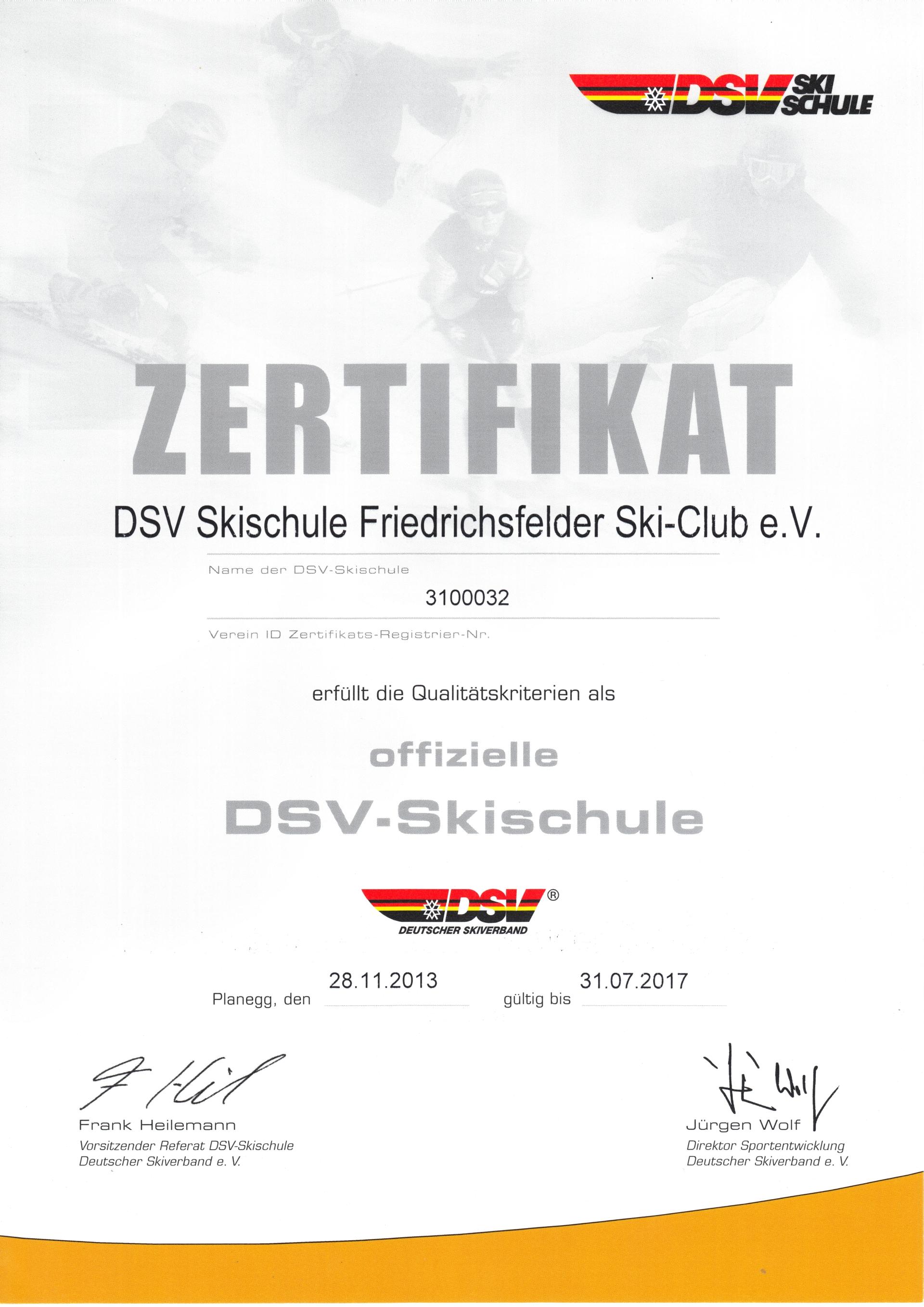 Zertifikat DSV Skischule Friedrichsfelder Ski-Club e.V. 2013-2017